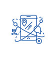 mobile navigationcommerce location line icon vector image vector image