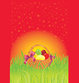 multi colored easter eggs in a cute basket vector image vector image