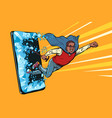 old african man superhero punches screen phone vector image vector image
