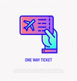 one way ticket on airplane in hand thin line icon vector image
