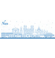 outline nice france city skyline with blue vector image