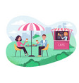 park cafe with umbrella in amoeba background vector image vector image