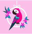 parrot in frame with flowers vector image vector image