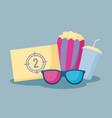 popcorn with set icons cinema vector image