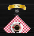 red cup of coffee with yellow ribbon vector image