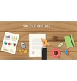 sales forecast with wooden table vector image