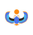 scarab beetle with blue wings and orange sun vector image vector image
