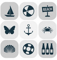 season icons set with crab ball beach sign and vector image vector image