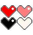 set different colour pixel hearts vector image