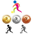 Soccer icon and sport medals vector image vector image