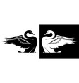 swan taking off silhouette vector image vector image