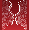 Valentine kissing couple silhouette vector image