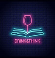 wine glass with book neon sign drink wine read vector image