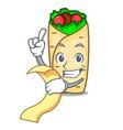 with menu burrito mascot cartoon style vector image