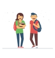 Young students or schoolmates with school bags and vector image