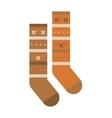 Multicolored woolen winter pair of socks flat vector image