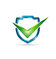 3D shield with check mark vector image vector image
