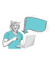 Anthropomorphic lion man pointing at laptop screen vector image