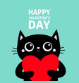 black cat holding big red heart happy valentines vector image vector image