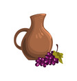 brown ceramic pitcher of wine bunch of ripe vector image