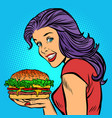 burger cheese grilled meat salad hungry woman vector image vector image