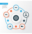 car icons set collection of van truck transport vector image
