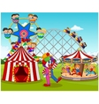 Cartoon happy children and clown in the amusement vector image