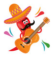 chilli pepper with guitar comic character vector image vector image