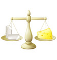 comparing chalk and cheese scales vector image vector image