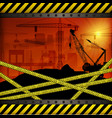 construction crane at sunset background vector image vector image