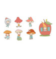 cute cartoon gnomes mushrooms forest elves vector image vector image