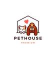 dog cat pet house logo icon vector image