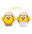 easter card with cracked eggs and cute little vector image vector image