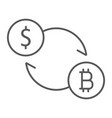 exchange thin line icon bitcoin and money vector image vector image