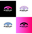 eye video media music sound button and play icon vector image vector image