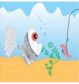 fish and a worm vector image vector image