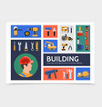 Flat building construction infographic template