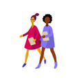 flat infographics of walking women vector image vector image
