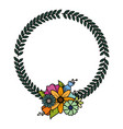floral wreath flowers leaves vector image vector image
