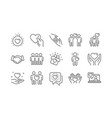 friendship and love line icons interaction vector image vector image