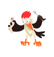 funny woodpecker with dead and fork bird cartoon vector image vector image