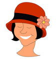 girl smiling with red hat on white background vector image vector image