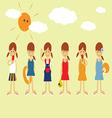 Girls In Summer vector image