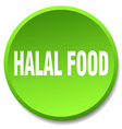 halal food green round flat isolated push button vector image vector image