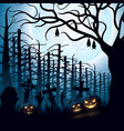 halloween night background with hanging bat vector image vector image