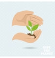Hands earth protect poster vector image vector image