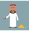 Happy arab businessman counting money vector image vector image