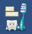 happy smiling clean tooth and brush characters vector image vector image