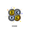 icon of world coins for currency exchange concept vector image