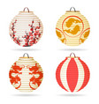 japanese paper lantern set vector image vector image
